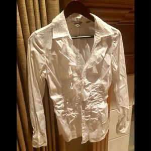 Tops - GUESS LONG SLEEVE WHITE RUFFLE BUTTON UP V NECK